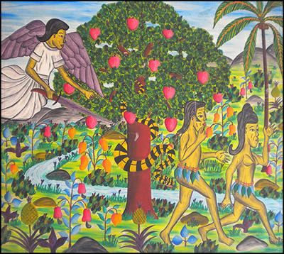 Adam & Eve Leaving the Garden of Eden by Lucien Saul