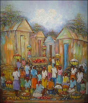 Market in Town by Watson Etienne