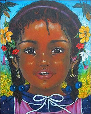 With Flowers in her Hair by Jean Bernard Etienne