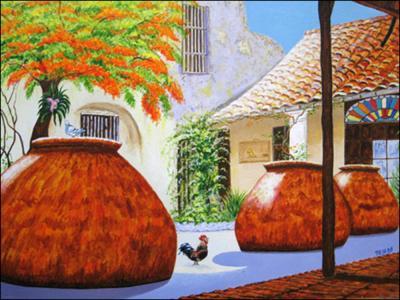 Patio Colonial con Flamboyan by Isidoro  Tejeda