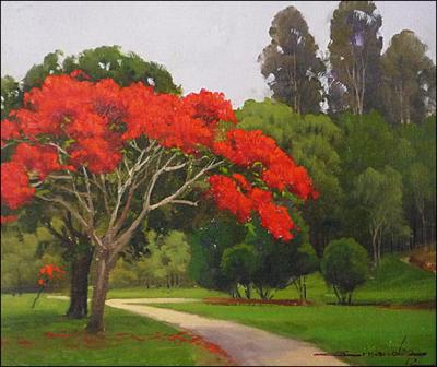 Path with Red Tree by Ernandes B. Silva