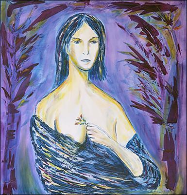 Woman with Flowers by Daniel Solana Rivera