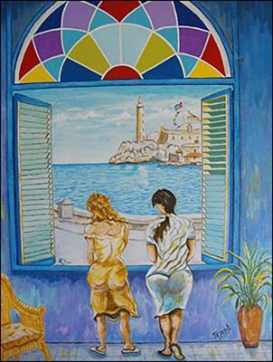 Mujeres con Vista al Malecon, Habana by Isidoro  Tejeda