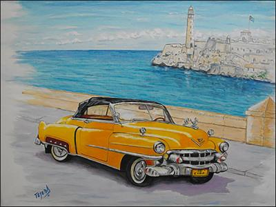 Cadillac in the Malecon Habana by Isidoro  Tejeda