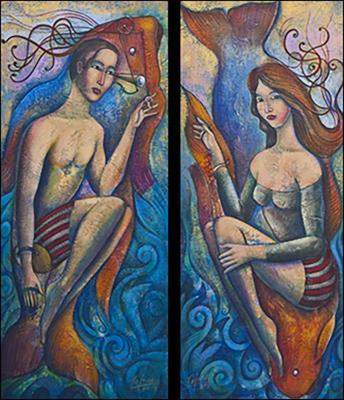 Swimmers (Nadadores) (diptych) by Armando Tejuca
