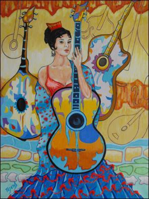 Gitana con Guitarras by Isidoro  Tejeda