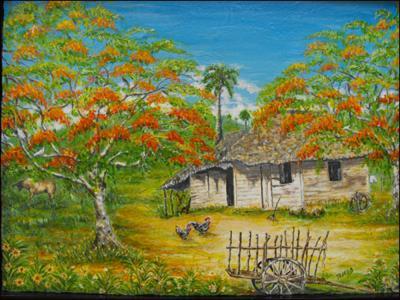 Bohio con Flamboyan by Isidoro  Tejeda