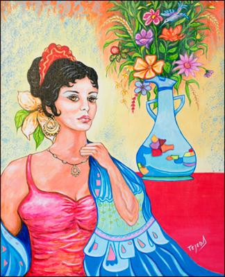 Gitana con Flores y Bucaro by Isidoro  Tejeda