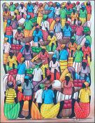 Busy Market with Baskets by Jean Louisius