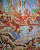 Mujeres con Gallos VIII by Isidoro  Tejeda