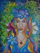 Mujer y Flores by Isidoro  Tejeda