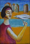 Girl with Bird by Guillermo Estrada Viera