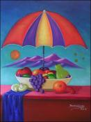 Still Bowl of Fruit Under the Umbrella by Raoul Gilles