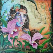 Mujer con Orquideas by Isidoro Tejeda